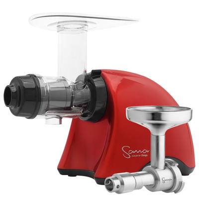 Omega Sana EUJ-707 Horizontal Slow Juicer in Red with Oil Extractor