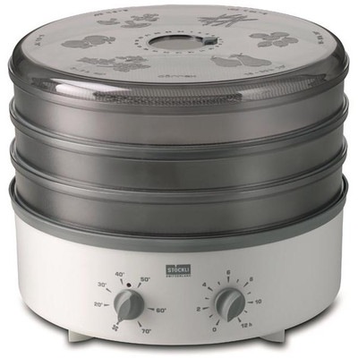 Stockli 3 Tray Stackable Dehydrator with Stainless Steel Trays & Timer