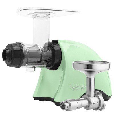 Omega Sana EUJ-707 Horizontal Slow Juicer in Green with Oil Extractor
