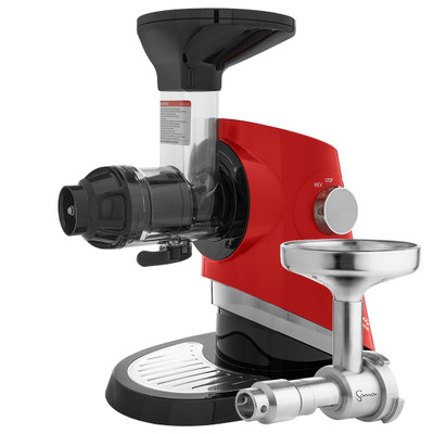 Sana EUJ-727 Supreme Horizontal Slow Juicer in Red with Oil Extractor