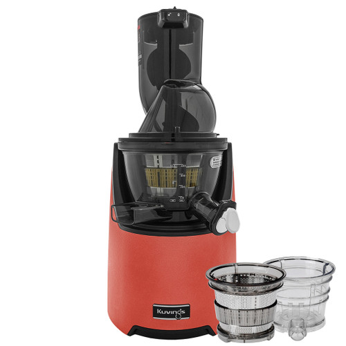 Kuvings EVO820 Plus Wide Feed Slow Juicer in Red with Accessories
