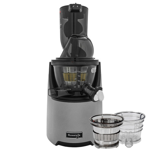 Kuvings EVO820 Plus Wide Feed Slow Juicer in Silver with Accessories