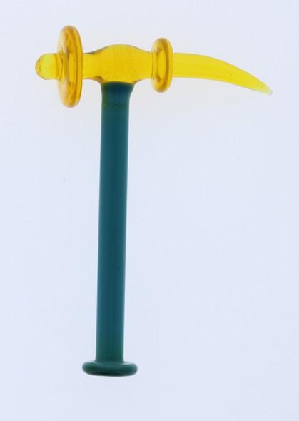 Monkey Boy Art - Blue/Yellow Hammer Dab Tool and Carb Cap (American Glass)