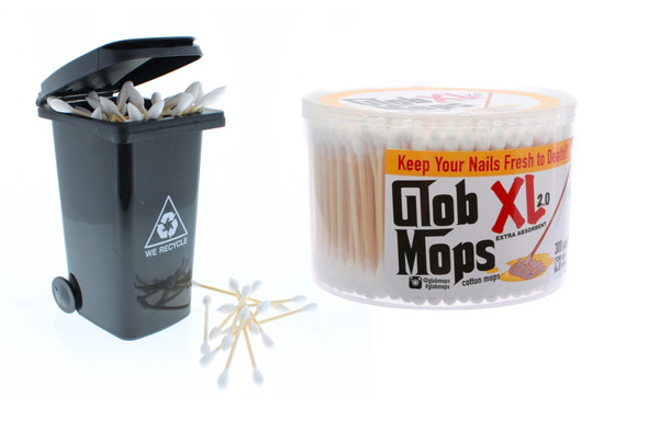 Cotton Swab Storage Mini Trash Can x Glob Mops