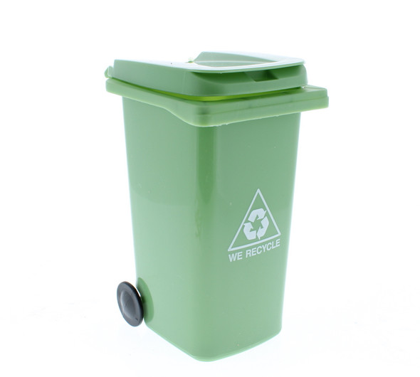 Mini Trash Can Cotton Swab Storage / Garbage Bin - Green