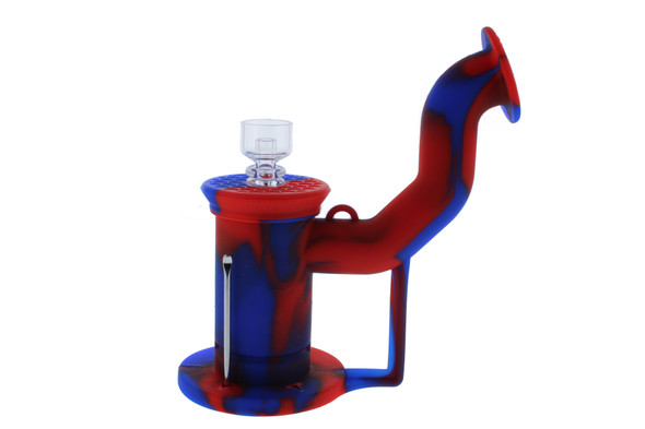 Silicone Dab Rig Waterpipe Kit with Quartz Nail - Red & Blue