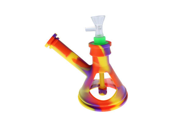 "6"" Silicone Glass Hybrid Beaker Bottom Water Pipe Purple Rainbow"