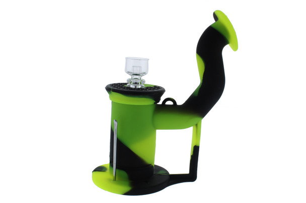 Silicone Dab Rig Waterpipe Kit with Quartz Nail - Black & Lime Green