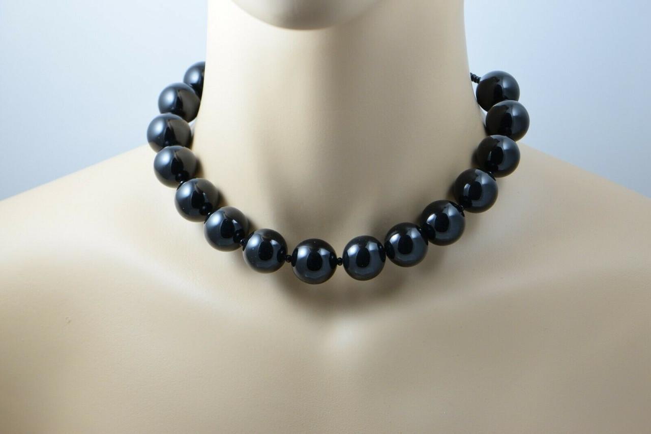 Tiffany Paloma Picasso Sterling Silver Black Onyx Bead Strand 16 Length Colonial Trading Company