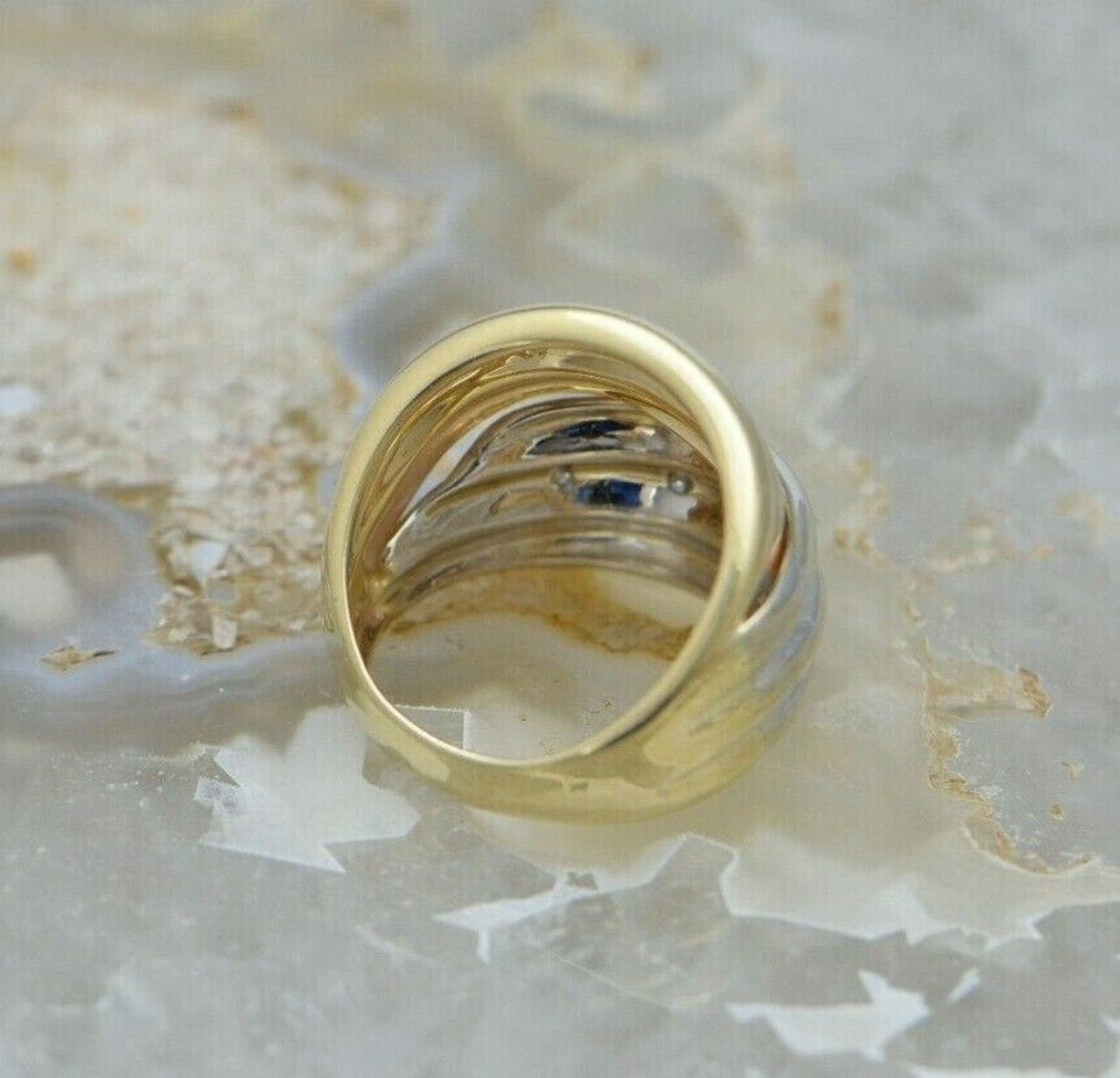 Stunning 14k Yellow Gold CZ Deco Cocktail Ring Size 6.25