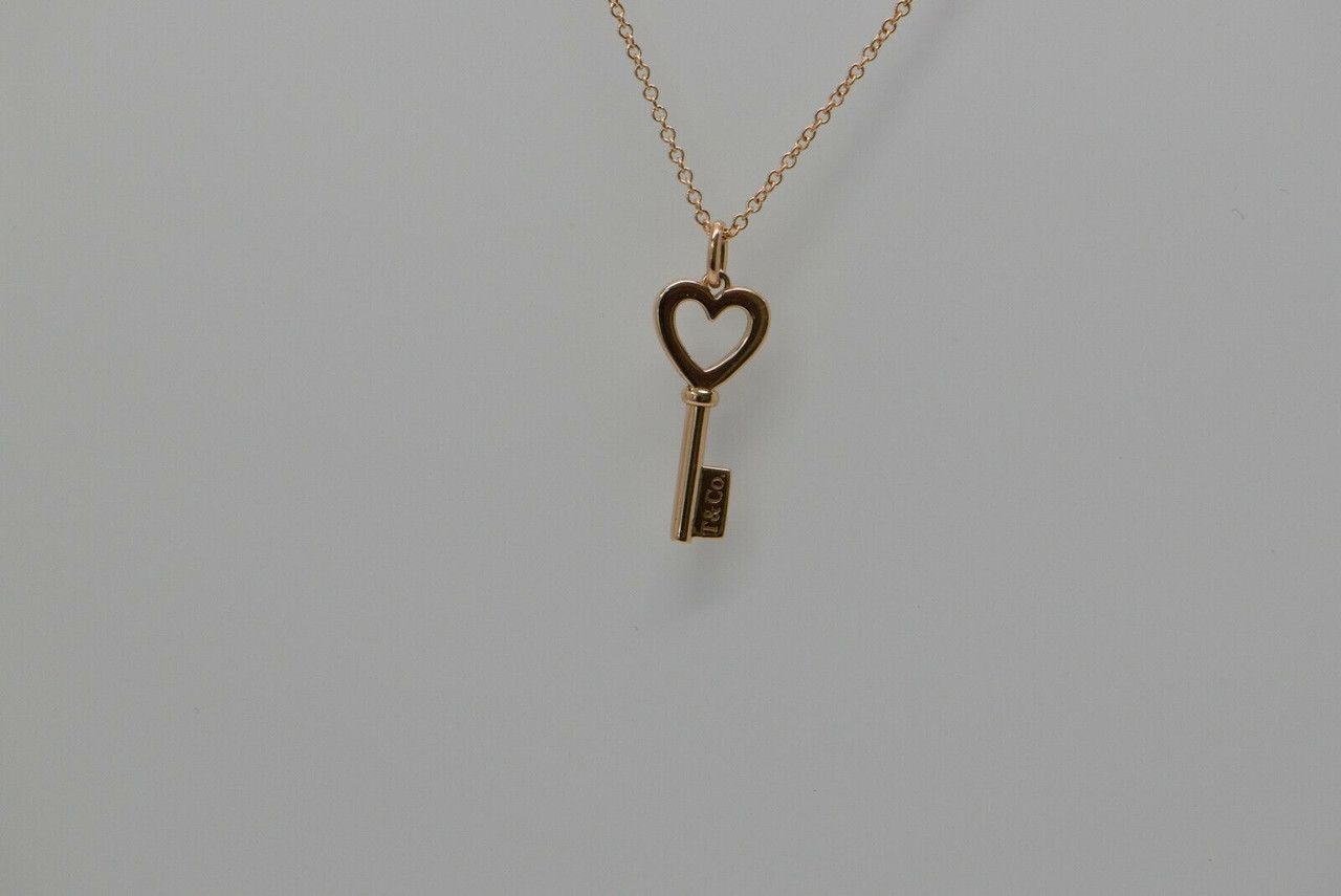 18k Rose Gold Tiffany Heart And Key Pendant On 18 Chain Modern Colonial Trading Co