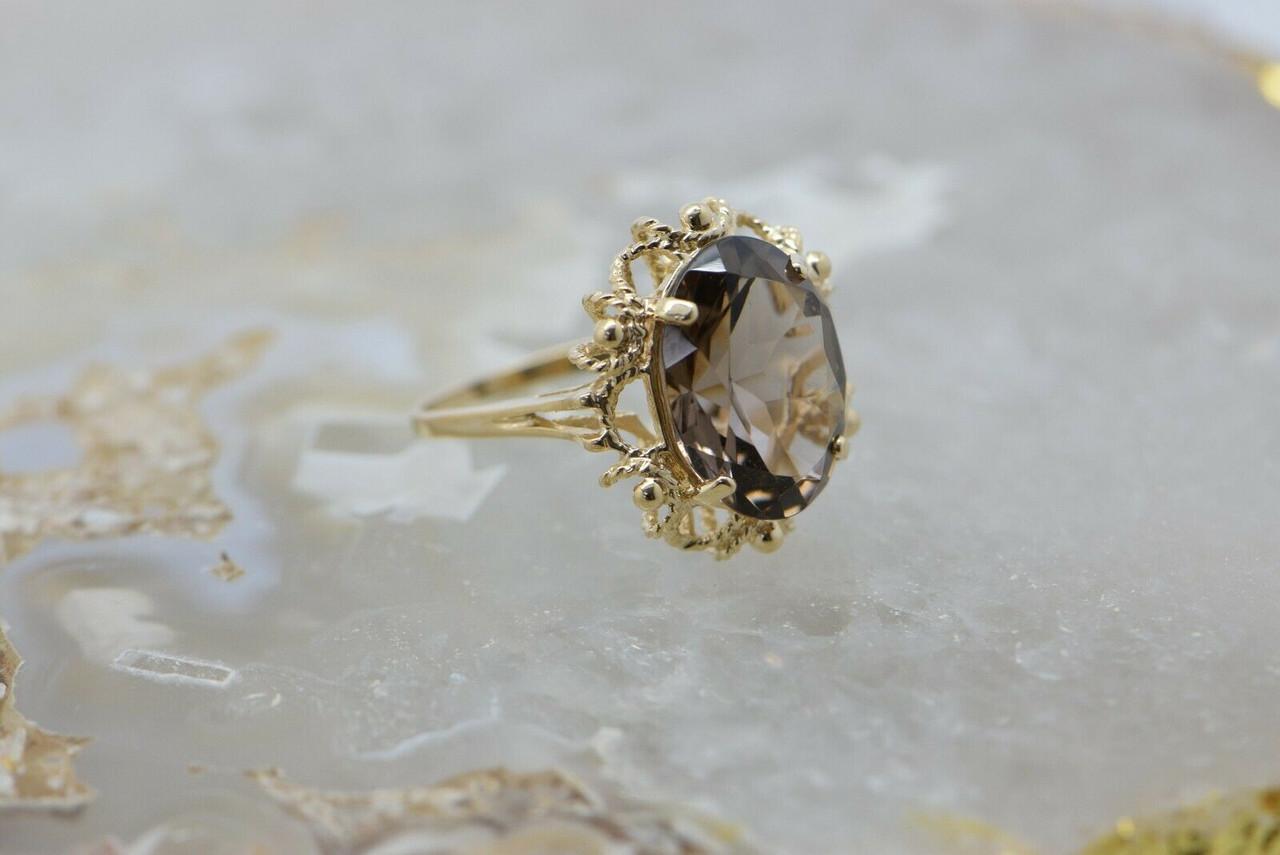 Antique 10k Gold Ring Large Smokey Quartz