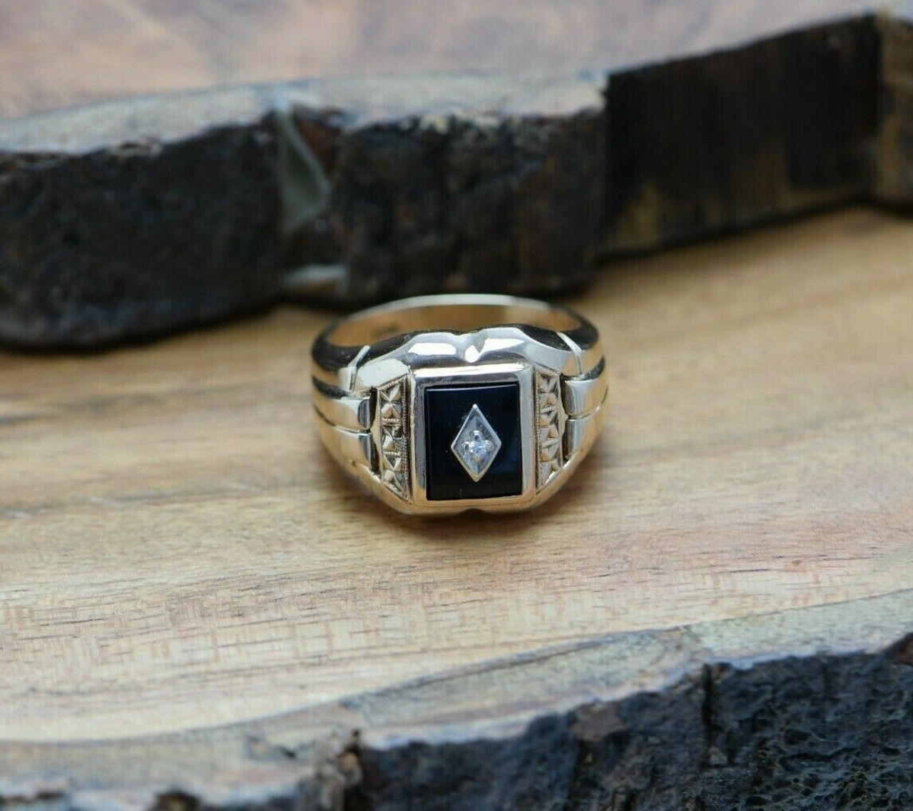 Vintage 10k Rose Gold Black Onyx And Diamond Ring Size 10 Circa 1950 Colonial Trading Company