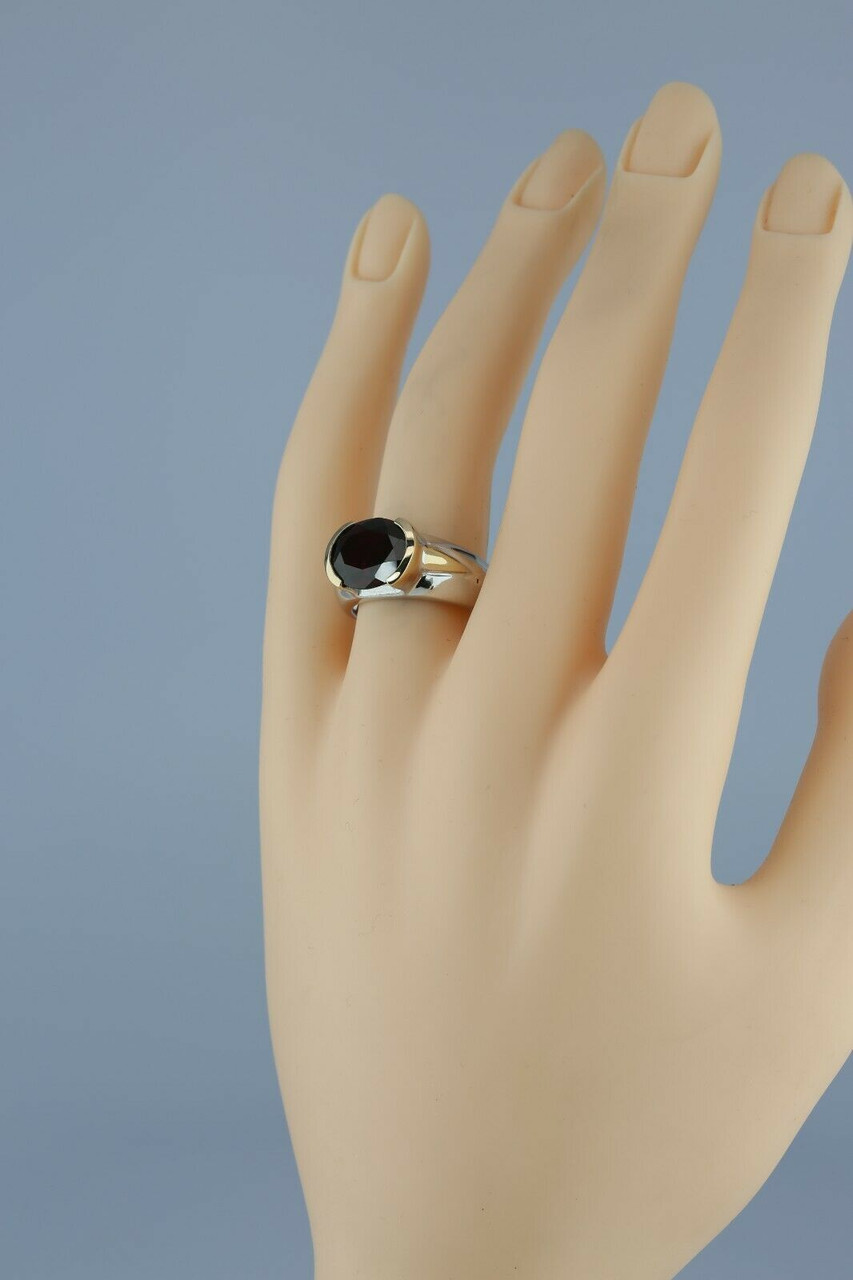 Unusual Vintage Sterling 14K Diamond Sapphire Snake Ring Size 6.75