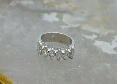 14K White Gold Marquise Diamond Ring, 2.5 ct tw, H SI2, Circa 1980, Size 5.5