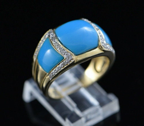 14K Yellow Gold Turquoise and Diamond Ring Circa 1990, Size 8