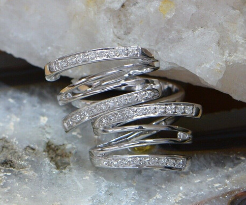 14K White Gold Diamond Artistic Ring app. 36 Round Stones on 4 Bands, Size 6.75