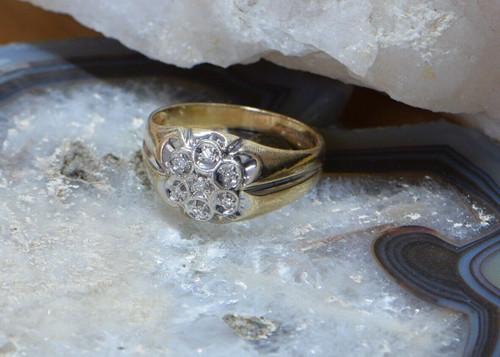 14K Yellow Gold 7 Stone Diamond Ring Circa 1950, Size 10.25