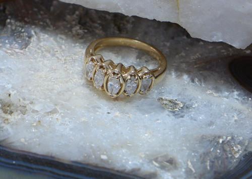 14K Yellow Gold 5 Stone Marquise Cut Diamond Ring, Size 6.5