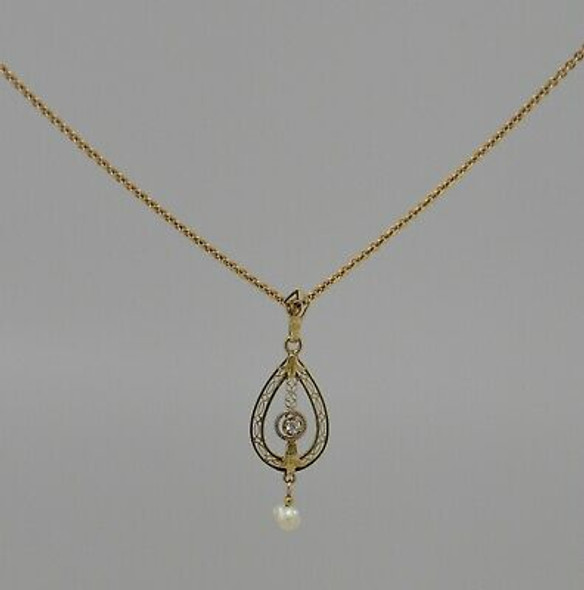 """14K Yellow Gold Edwardian Diamond and Baroque Pearl Pendant on 17"""" Chain"""