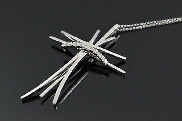 "14K White Gold Modernist Cross w/11 Diamonds and 16"" White Gold Chain"