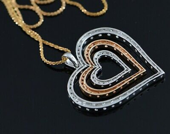 "14K Rose and White Gold Heart Shaped Diamond Pendant with 24"" Rose Gold Chain"