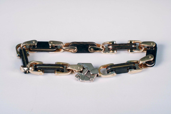 "14K White and Yellow Gold ""FIBO"" Designer Bracelet, 7.75"" Long"