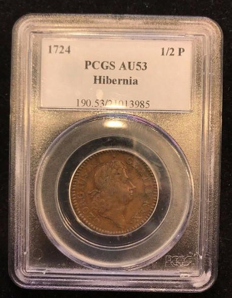 1724 Hibernia Half Penny PCGS AU-53