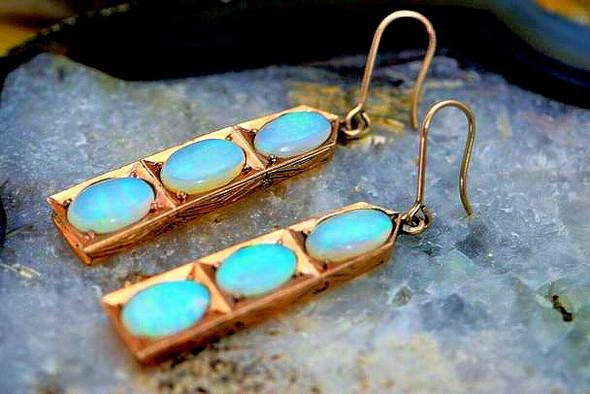 14K Rose Gold Art Deco Crystal Opal 3 Stone Ear Pendants