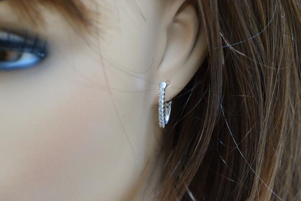 14K White Gold Diamond Hinged Hoop Earrings, 18 stones in line set, 1/3 ct tw HS
