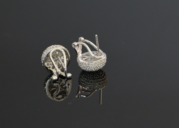 14K White Gold Ball Shaped Top Pave Earring Post and Clips
