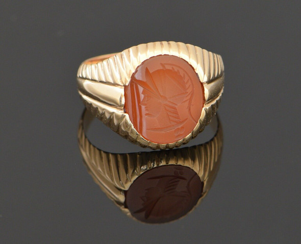 14K Rose Gold Carnelian Oval Intaglio Roman Soldier Ring Circa 1950, Size 11