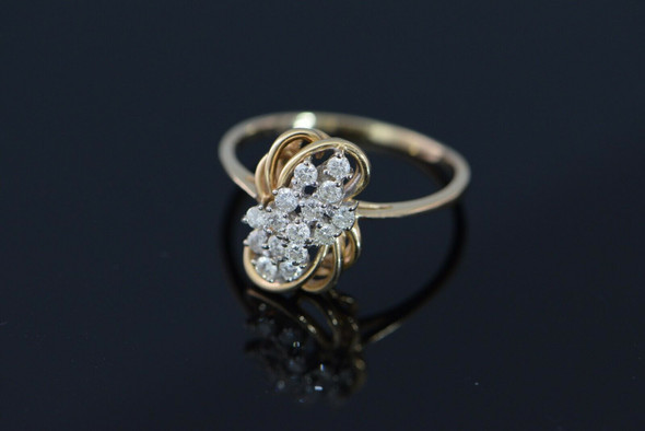 14K Yellow Gold Diamond Cocktail Ring, H SI1, Size 11, Circa 1960