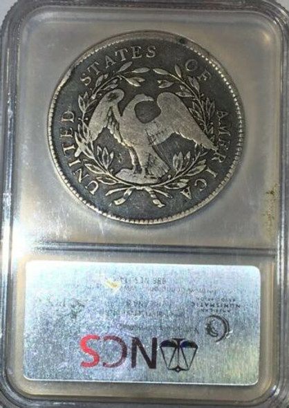 "1795 ""Silver Plug"" FLOWING HAIR 3 LEAVES SILVER DOLLAR NGC VG Details"