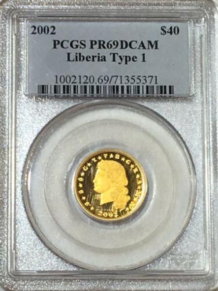 2002 Liberia $40 Gold, $4 Stella Type 1 PCGS PR69 DCAM