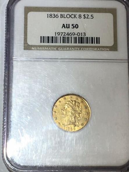 1836 $2.50 Classic Head Gold Block 8 NGC AU50