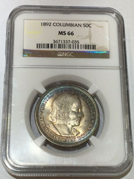 1892 Columbia's Exposition Commemorative Half Dollar NGC MS 66 Great Colors!