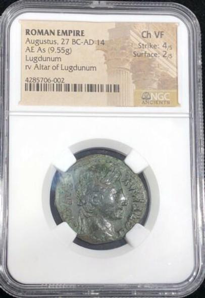 Roman Empire. Augustus AE As / Altar of Lugdunum *DAMNATIO MEMORIAE*