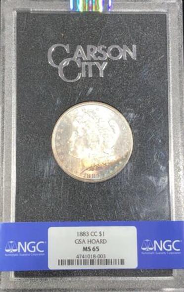 1883 CC NGC MS65 Morgan Silver Dollar GEM Uncirculated Carson City GSA Coin Tone