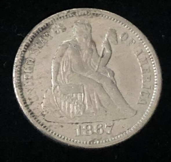 1867-S Seated Liberty Dime - Rare Low Mintage