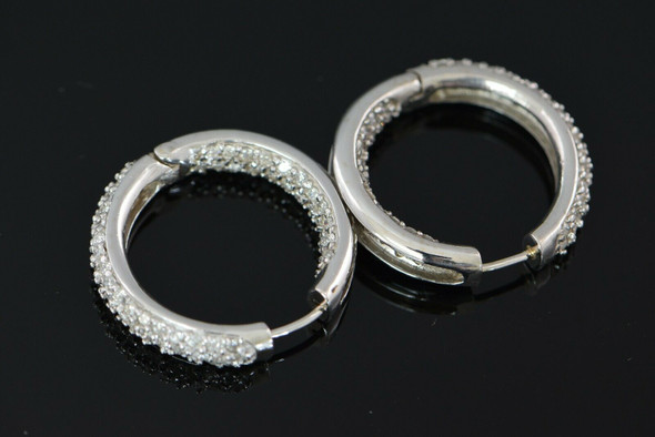 14K White Gold Diamond Hoops, 5 ct tw Pave Round Stones Throughout Outside