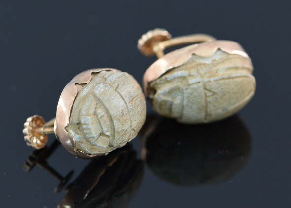 14K Yellow Gold Tested Ancient Egyptian Scarab Screw Back Earrings, Circa 1950