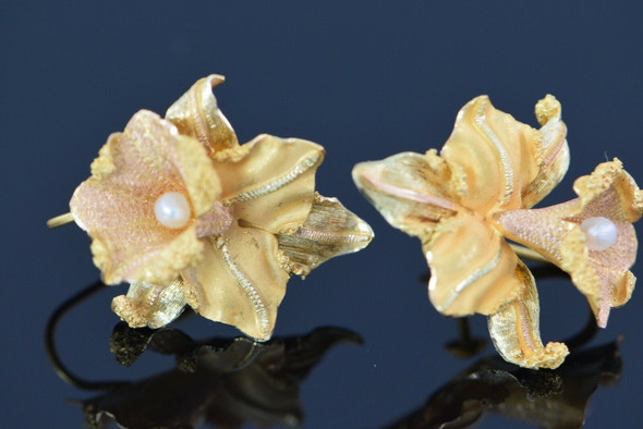 18K Yellow Gold Orchid Ear Screw Backs, Pearl Set, Circa 1940