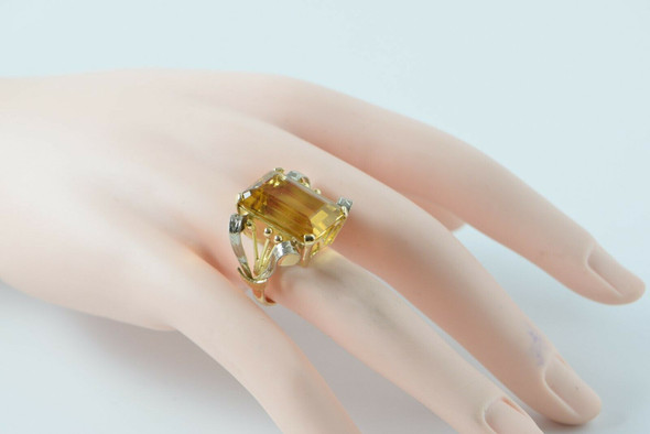 14K Yellow & White Gold Citrine Ring, Circa 1960's, Size 6.25