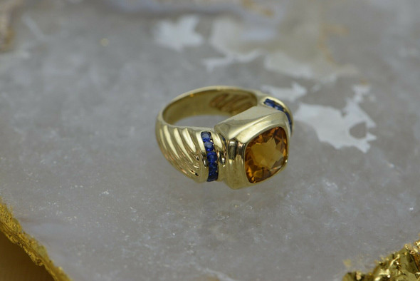 14K Yellow Gold David Yurman Sapphire & Citrine Ring, Modern Classic, Size 6