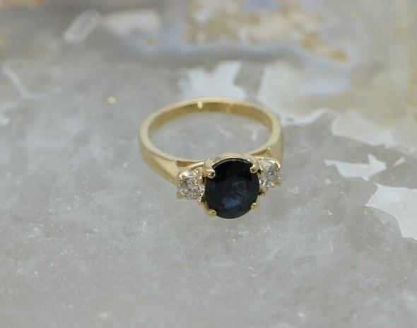14K Yellow Gold Sapphire & Diamond Ring Circa 1980, Size 6.5