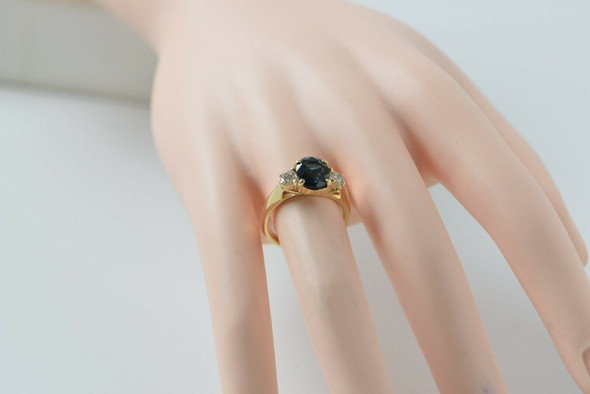 14K Yellow Gold Sapphire & Diamond Ring Circa 1980, Size 6.5