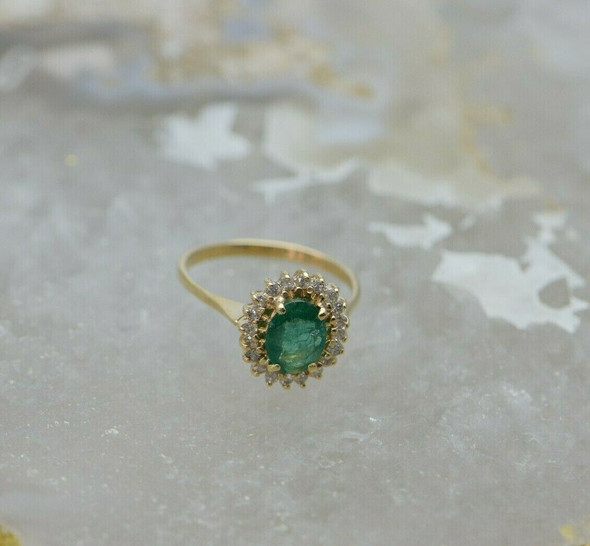 14K Yellow Gold Emerald & Diamond Halo Ring, Oval Fine Emerald 5x8mm, Size 6.25