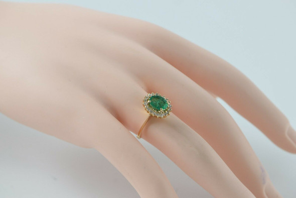 14K Yellow Gold Emerald & Diamond Halo Ring, Oval Fine Emerald 5x8mm, Size 6.25