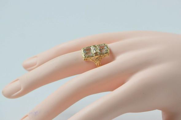 14K Yellow Gold Retro-style, Aquamarine & Diamond Ring, Size 7